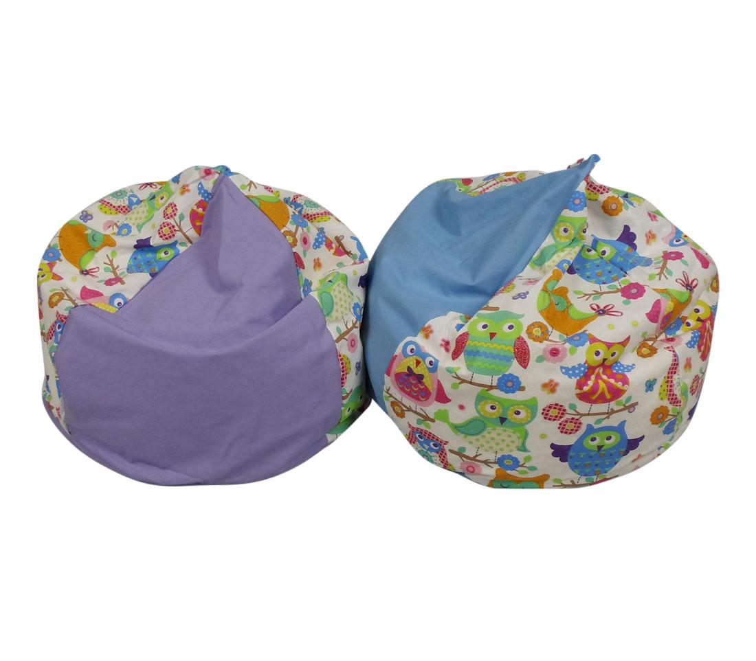 Sækkestol baby med farvet ugleprint og navn